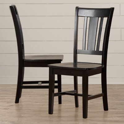 Malcolm Slat Back Solid Wood Dining Chair Finish: Black