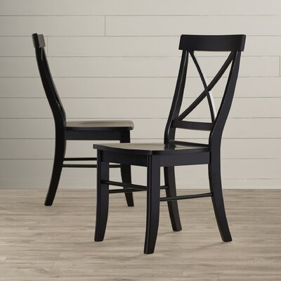 Sawyer Cross Back Solid Wood Dining Chair Color: Black