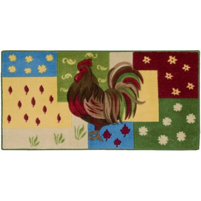 Lyn Rooster Green/Red Area Rug Rug Size: Rectangle 110 x 3 4
