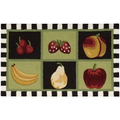 Stella Green/Black Fruit Area Rug Rug Size: 18 x 29