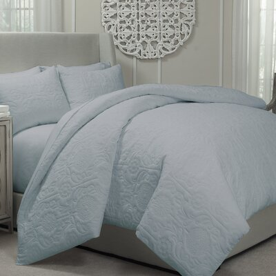 Margee Quilted Coverlet and Duvet Set Size: King, Color: Periwinkle