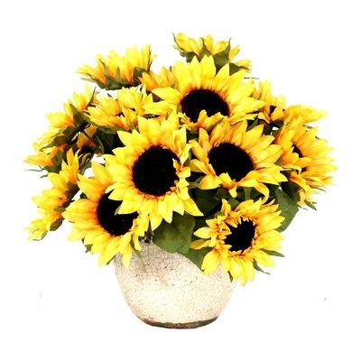 Sunflowers in Distressed Glaze Ceramic Pot ATGR2982 27708212