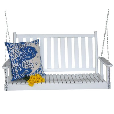 Hanging Porch Swing with Chain Finish: White