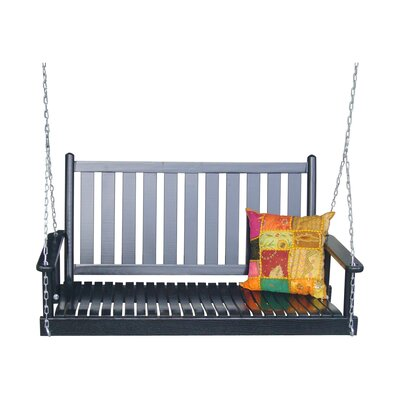 Hanging Porch Swing with Chain Finish: Black