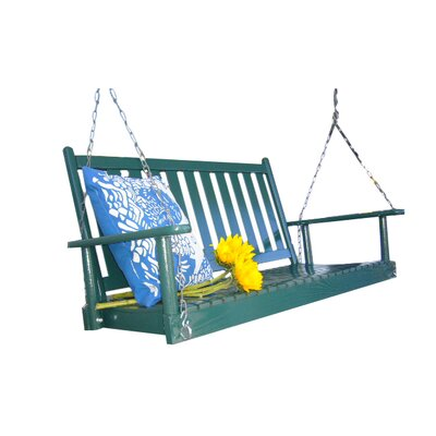 Hanging Porch Swing with Chain Finish: Green