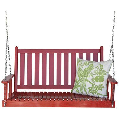 Hanging Porch Swing with Chain Finish: Sienna Red