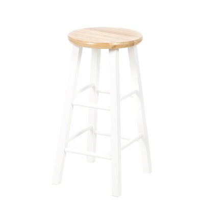 Alison 24 Bar Stool Color: White / Natural