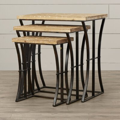 Anaelle 3 Piece Wood and Metal Nesting Table Set