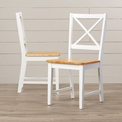 Sally Cross Back Side Chair Color: White