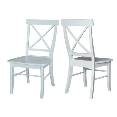 Sawyer Cross Back Solid Wood Dining Chair Finish: Linen