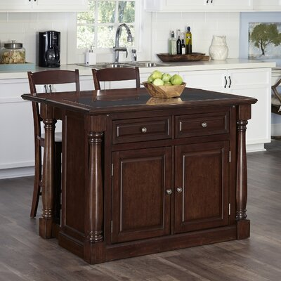 Shyanne Kitchen Island Set with Granite Top Base Finish: Cherry