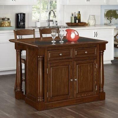 Giulia Kitchen Island Set with Granite Top Base Finish: Oak