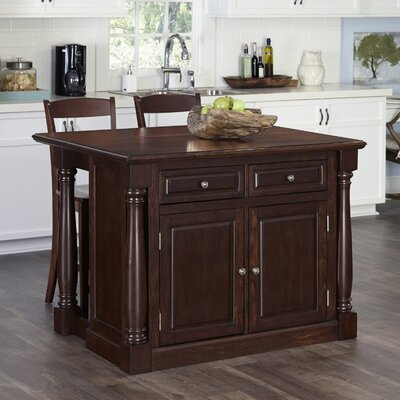 Shyanne Kitchen Island Set Base Finish: Cherry