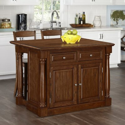 Giulia Kitchen Island Set Base Finish: Oak