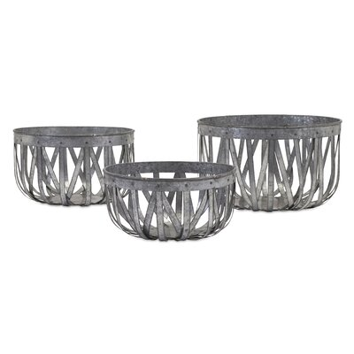 3 Piece Arlene Galvanized Baskets Set