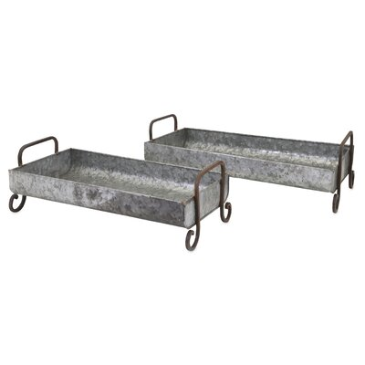 2 Piece Marley Galvanized Decorative Trays Set