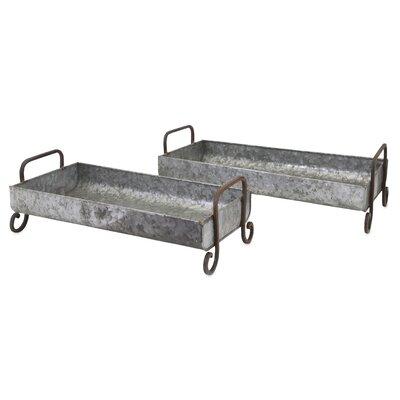 2 Piece Marley Galvanized Decorative Trays Set