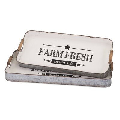 2 Piece Farm Fresh Decorative Trays Set