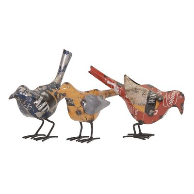 3 Piece Reclaimed Metal Bird Figurine Set