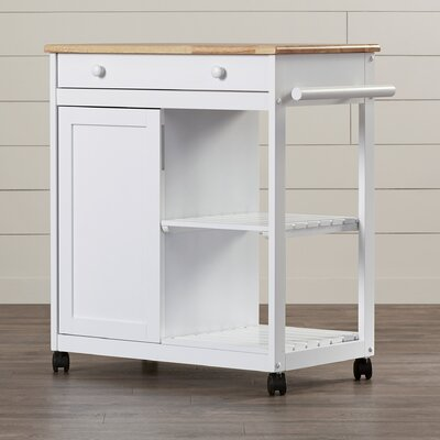 Allie Kitchen Cart with Wooden Top