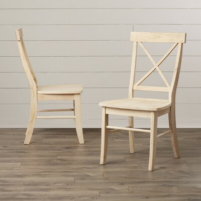 Sawyer Cross Back Solid Wood Dining Chair Color: Unfinished