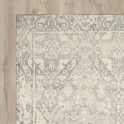 Katy Hand-Tufted Light Gray / Ivory Area Rug Rug Size: Runner 23 x 6