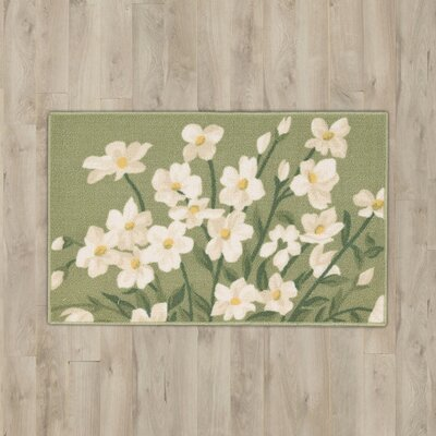 Andora Light Green Daisy Area Rug