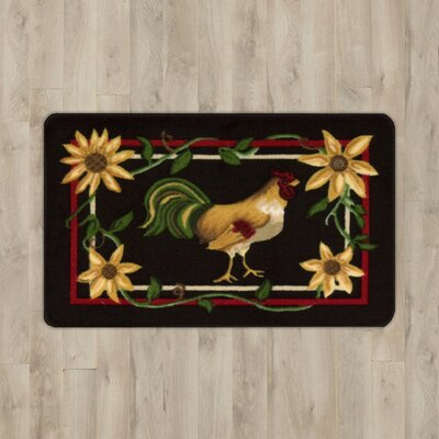 Lyn Rooster Black/Red Area Rug Rug Size: 1'6