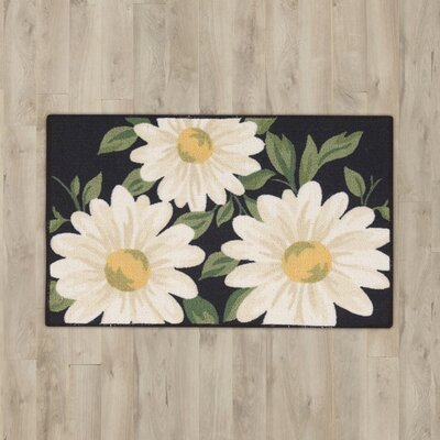 Andora Black Large Daisys Area Rug
