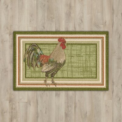 Caddie Green Rooster Area Rug