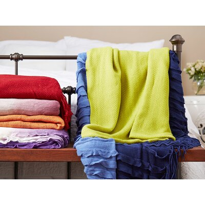 Adah Throw Blanket Color: Olive / Ivory