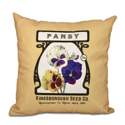 Oliver Pansy Floral Print Throw Pillow Color: Cream, Size: 18 H x 18 W