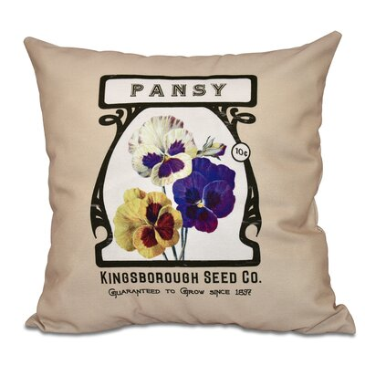 Oliver Pansy Floral Print Throw Pillow Size: 26 H x 26 W, Color: Taupe