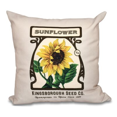 Swan Valley Sunflower Floral Print Throw Pillow Size: 16 H x 16 W, Color: Cream
