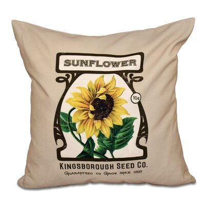 Swan Valley Sunflower Floral Print Throw Pillow Size: 16 H x 16 W, Color: Taupe