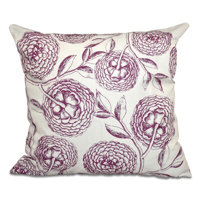 Swan Valley Blooms Antique Flowers Print Throw Pillow Size: 16 H x 16 W, Color: Purple