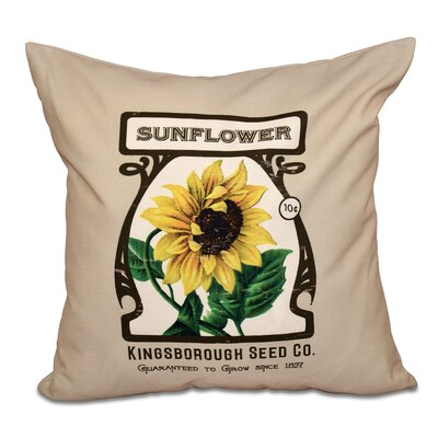 Swan Valley Sunflower Floral Outdoor Throw Pillow Size: 20 H x 20 W, Color: Taupe