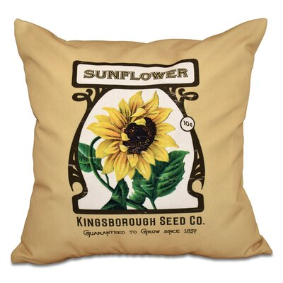 Swan Valley Sunflower Floral Outdoor Throw Pillow Size: 18 H x 18 W, Color: Gold
