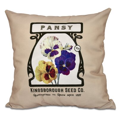 Swan Valley Pansy Floral Outdoor Throw Pillow Size: 18 H x 18 W, Color: Taupe