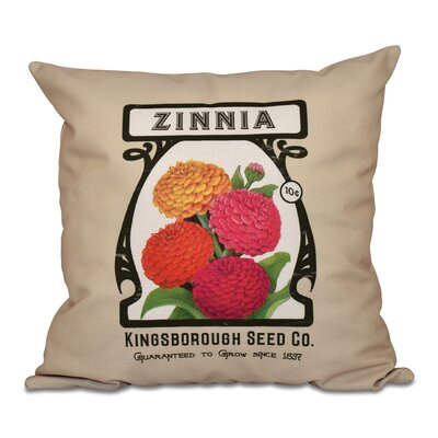 Swan Valley Zinnia Floral Outdoor Throw Pillow Size: 18 H x 18 W, Color: Taupe