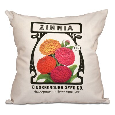 Swan Valley Zinnia Floral Outdoor Throw Pillow Size: 18 H x 18 W, Color: Cream