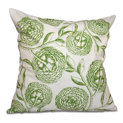 Swan Valley Antique Flowers Floral Outdoor Throw Pillow Size: 20 H x 20 W, Color: Green