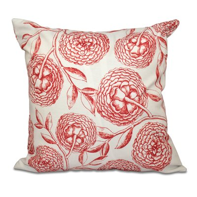Swan Valley Antique Flowers Floral Outdoor Throw Pillow Size: 18 H x 18 W, Color: White