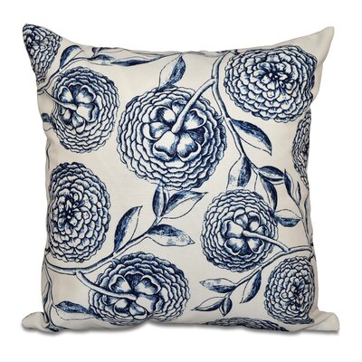 Swan Valley Antique Flowers Floral Outdoor Throw Pillow Size: 18 H x 18 W, Color: Navy Blue