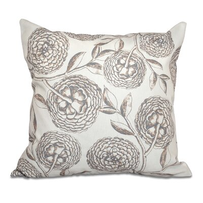 Swan Valley Antique Flowers Floral Outdoor Throw Pillow Size: 18 H x 18 W, Color: Taupe