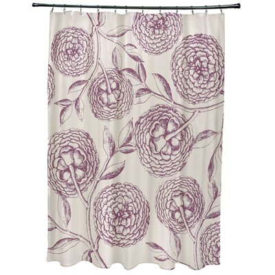 Oliver Antique Flowers Print Shower Curtain Color: Purple