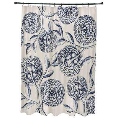 Chickamauga Antique Flowers Print Shower Curtain Color: Navy Blue