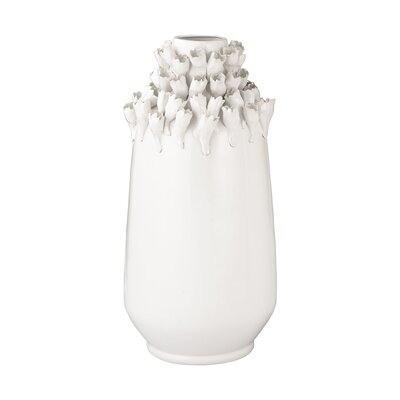 Textured Top Ceramic Vase Size: 20.9 H x 9 W x 9 D