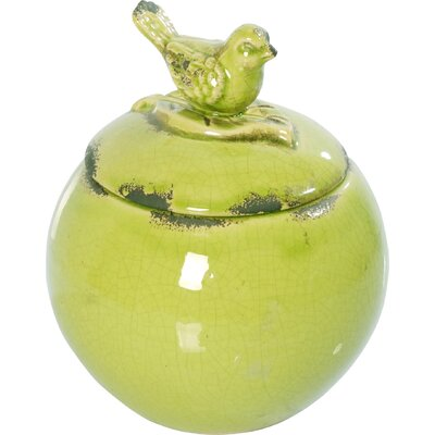 Roux Lidded Round Bowl with Bird Finial Decorative Box (Set of 2)