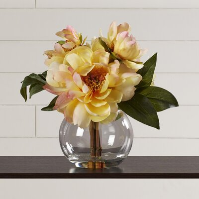 Yellow Peonies in Acrylic Water Vase